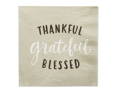 Thankful Grateful Blessed Paper Lunch Napkins, 20-Count