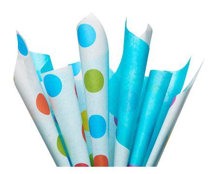 Aqua and Multicolored Polka Dot Tissue Paper, 10 Sheets