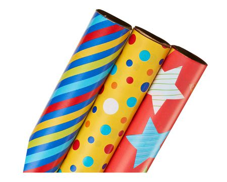 Birthday gift wrap american greetings wrapping paper colorful stripes dots and stars 3 roll pack m4hsunfo