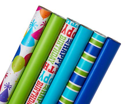 Birthday Wrapping Paper Bundle, 6 Count