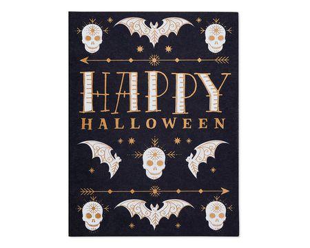 Bats and Skulls Halloween Card