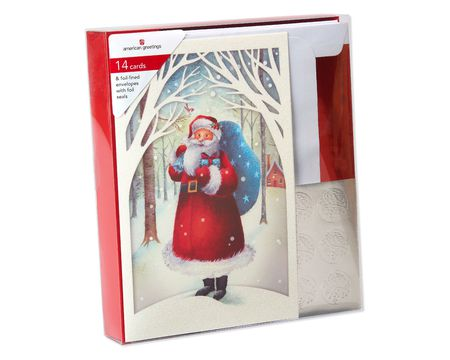 Santa in Snowy Village Christmas Boxed Cards, 14 Count