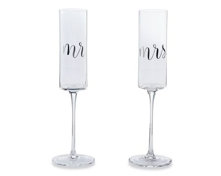 Mud Pie Mr. & Mrs. Wedding Champagne Glass Set, 2-Count