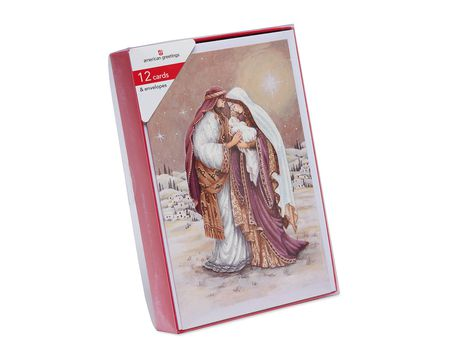 Holy Family Religious Christmas Boxed Cards and White Envelopes, 12-Count