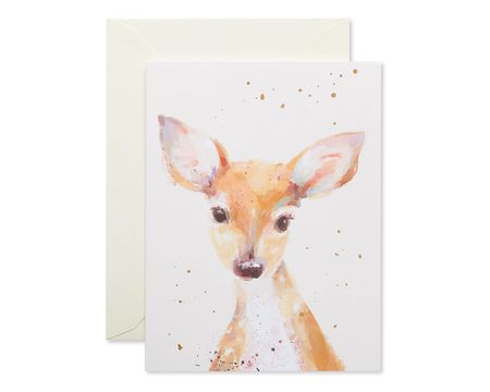 Watercolor Deer Blank Note Cards and Cream Envelopes, 20-Count