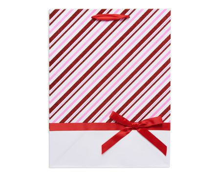 medium red and pink candy cane christmas striped gift bag