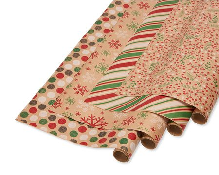 Christmas Reversible Wrapping Paper, Red, Green and Kraft, Snowflakes, Polka Dots, Stripes and Holly, 4-Rolls, 80 Total Sq. Ft.