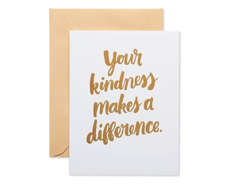 Kindness Thank You Blank Note Cards and Tan Envelopes, 20-Count