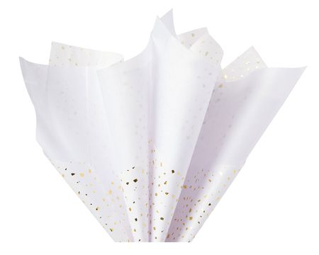 White with Gold Flecks Tissue Paper, 6 Sheets