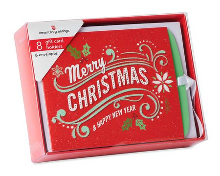 Christmas Gift Card Holder Boxed Cards and White Envelopes, 8-Count