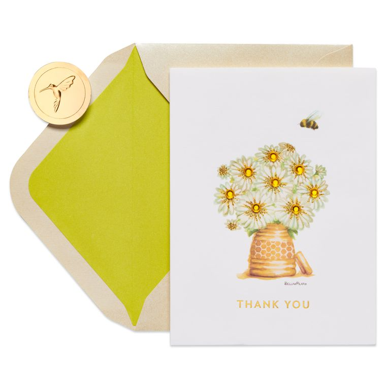 Honeybee Thank You Greeting Card- Designed by Bella Pilar