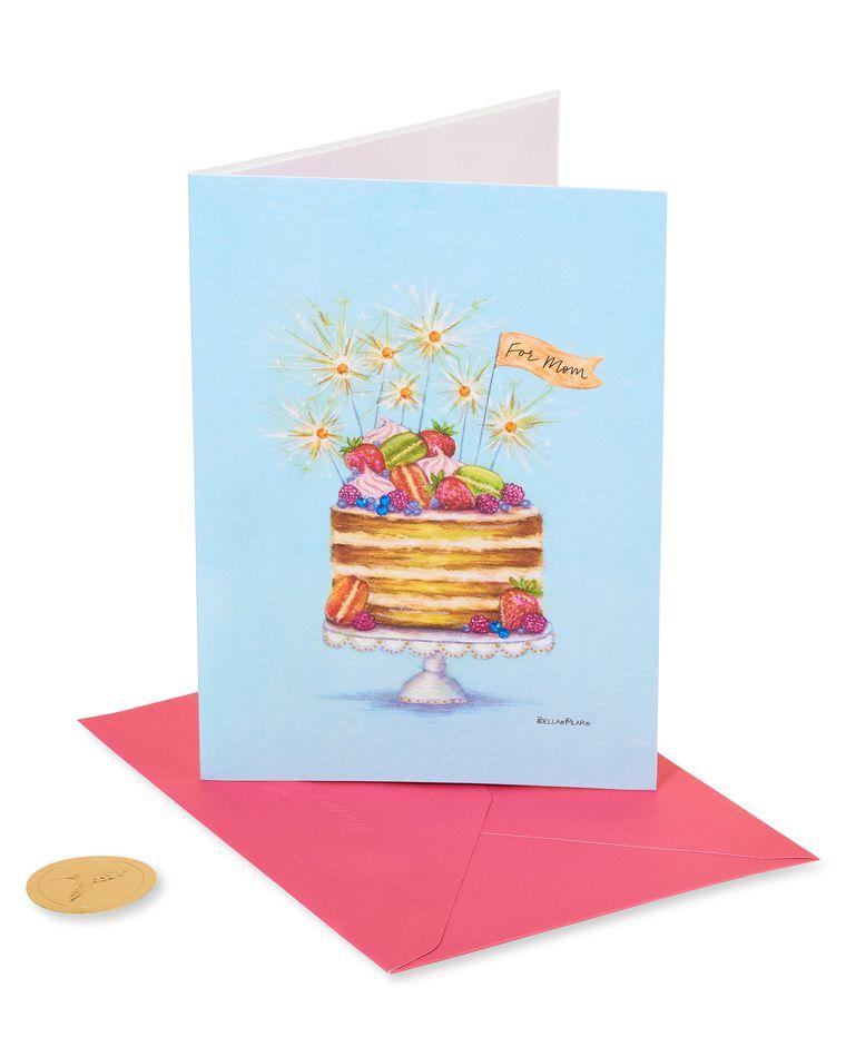 Sparkler Cake Birthday Greeting Card - Designed by Bella Pilar