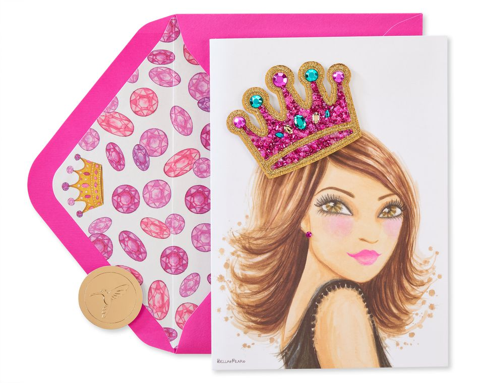 Girl With Crown Birthday Greeting Card - Designed by Bella Pilar