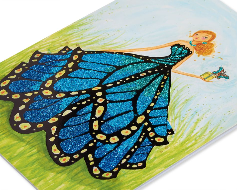 Butterfly Girl Birthday Greeting Card for Her- Designed by Bella Pilar