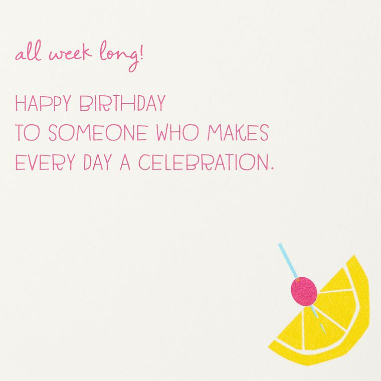Cake and Cocktails Birthday Greeting Card for Her