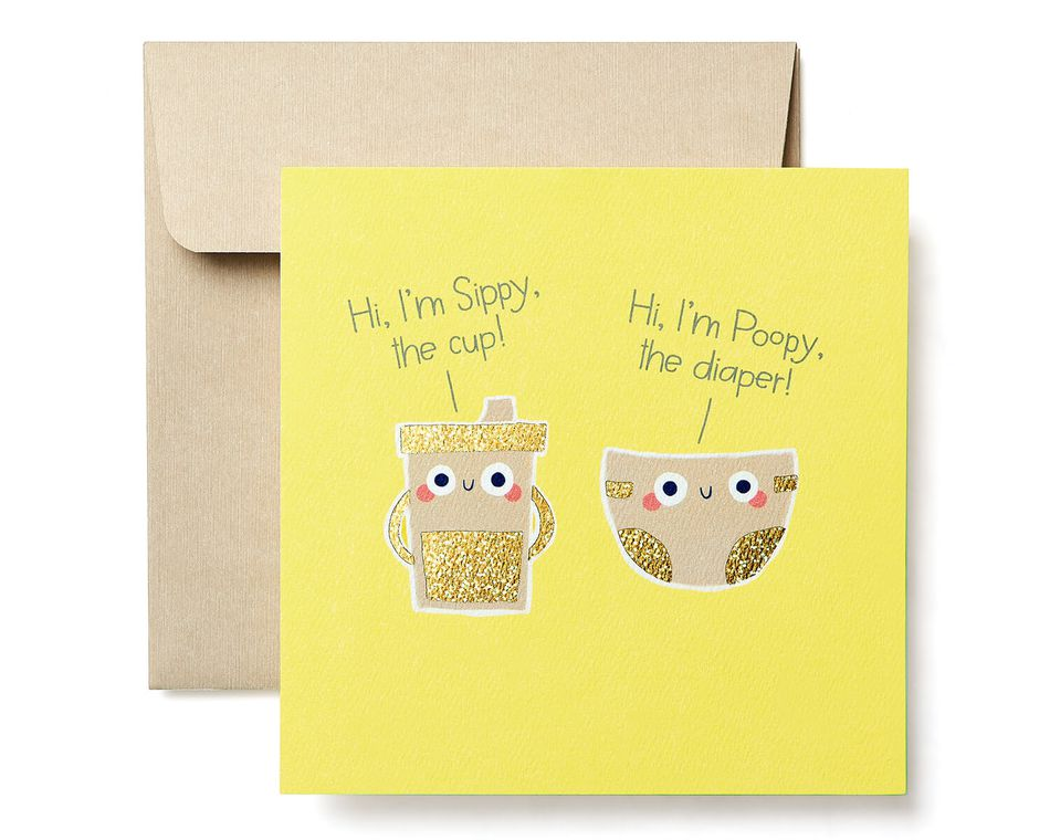 Sippy and Poopy New Baby Congratulations Greeting Card