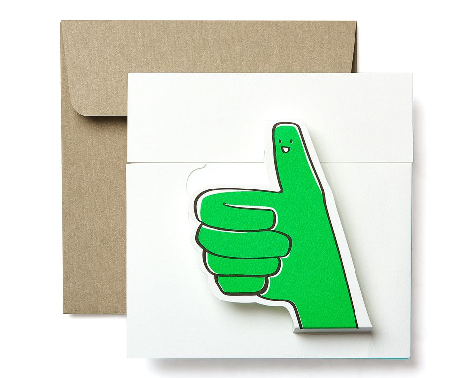 Thumbs Up Blank Greeting Card - Friendship, Thinking of You, Congratulations