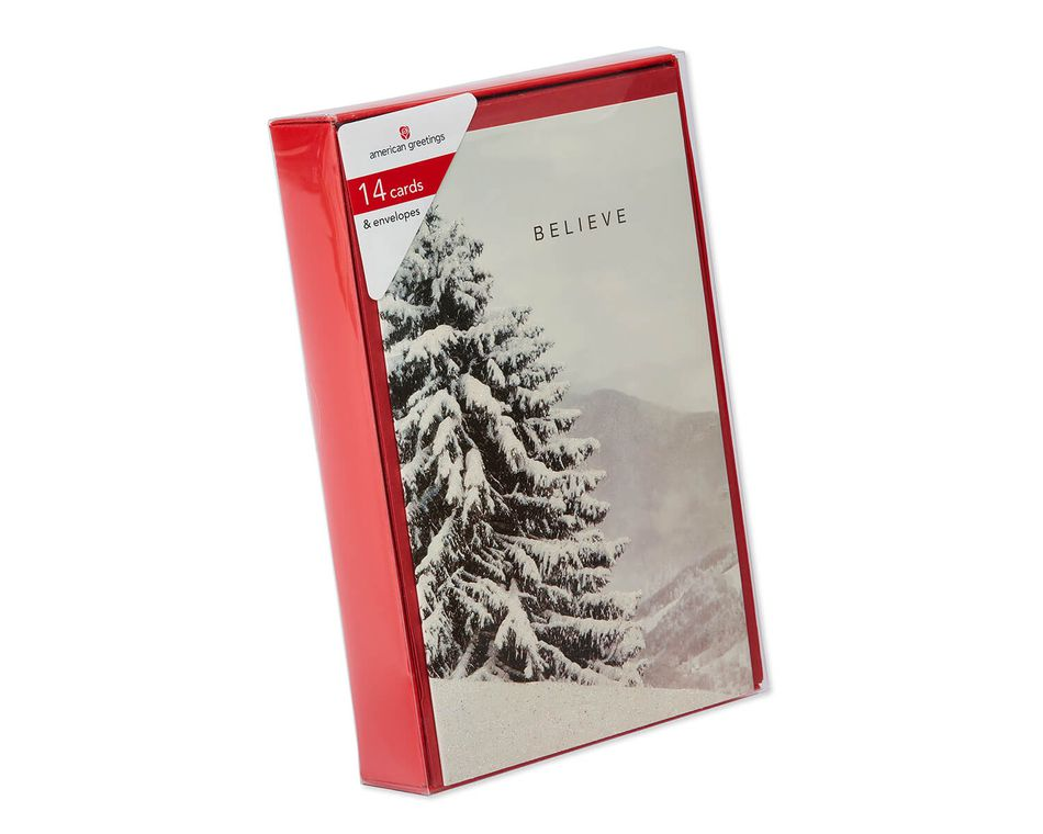 Deluxe Tree Photo Christmas Boxed Cards and Red Envelopes, 14-Count