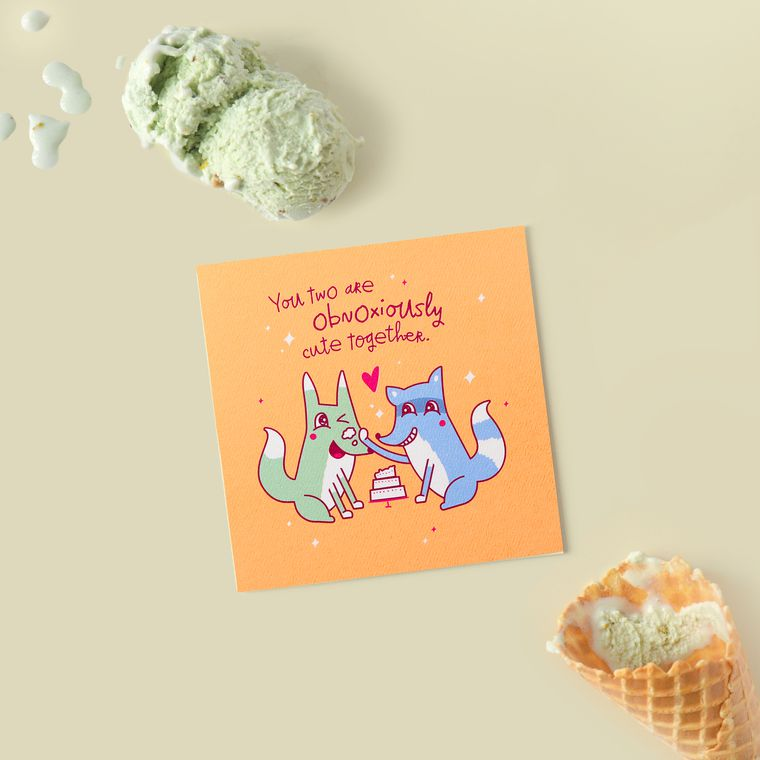 Obnoxiously Cute Greeting Card for Couple - Engagement, Wedding, Anniversary