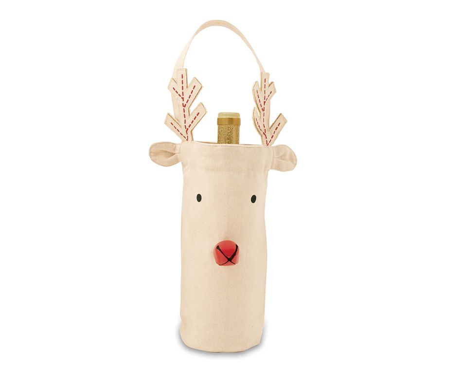 Mud Pie Red Nose Reindeer Wine Bag