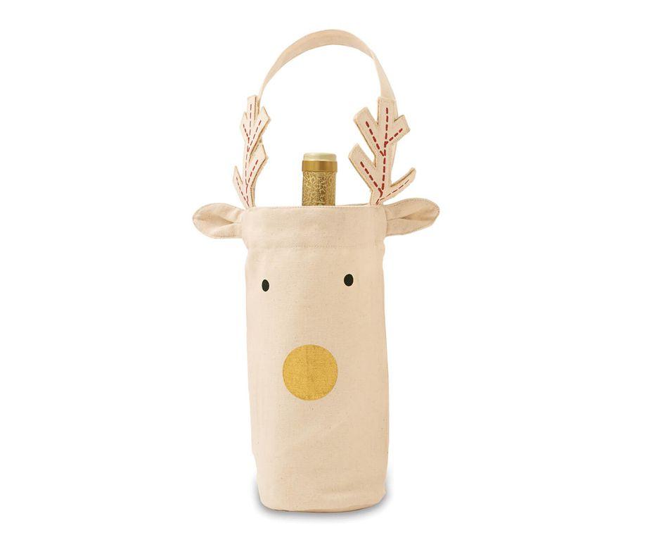 Mud Pie Gold Nose Reindeer Wine Bag