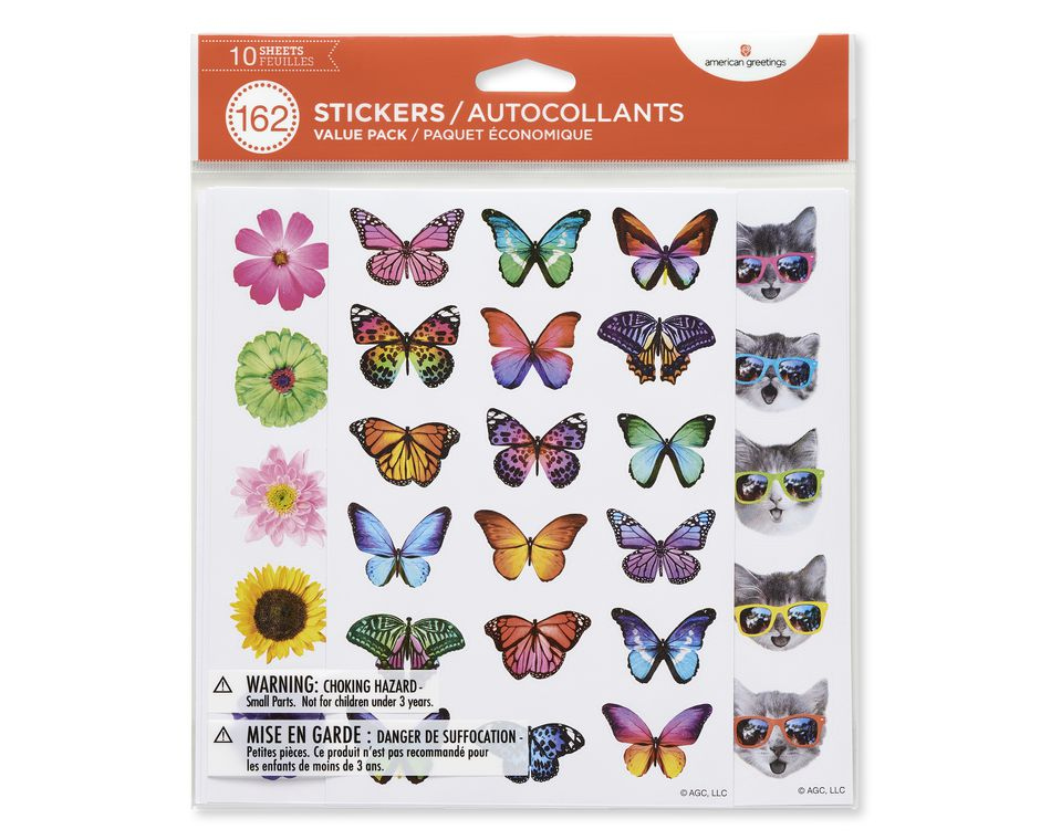 Butterfly, Flower and Cat Variety Sticker Sheets, 162-Count