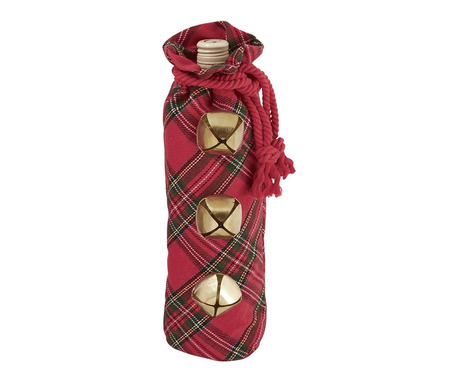Mud Pie Red Tartan Jinglebell Wine Bag