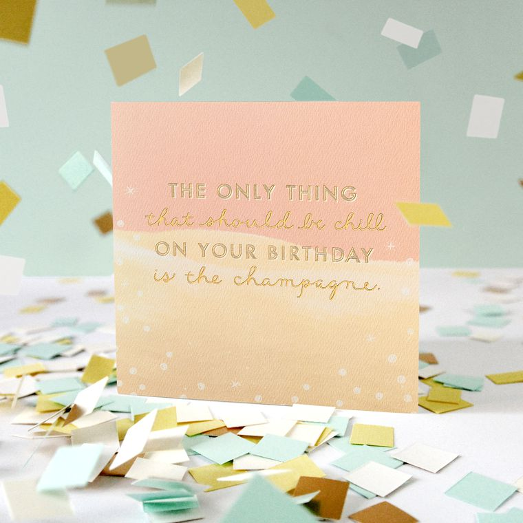 Champagne Birthday Greeting Card