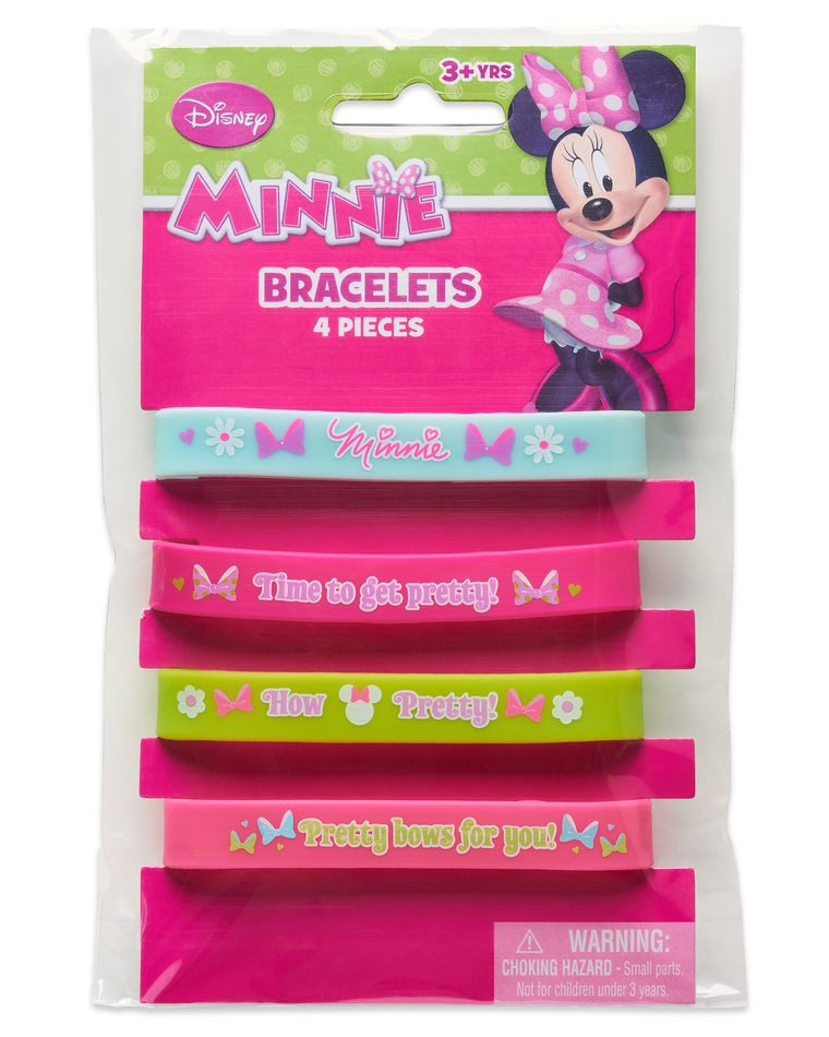Minnie Mouse Rubber Bracelets, 4-Count
