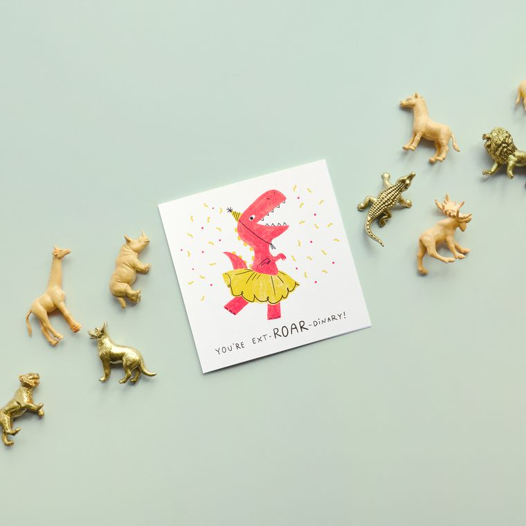 Dinosaur Birthday Greeting Card for Girl