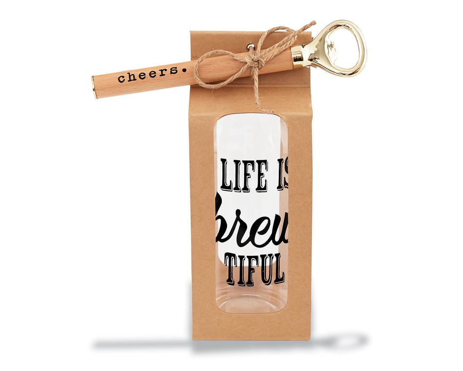 Mud Pie Life is Brew Glass and Bottle Opener Set, 2-Count