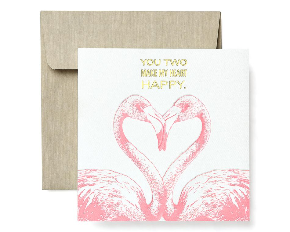 Flamingos Greeting Card for Couple - Engagement, Wedding, Anniversary