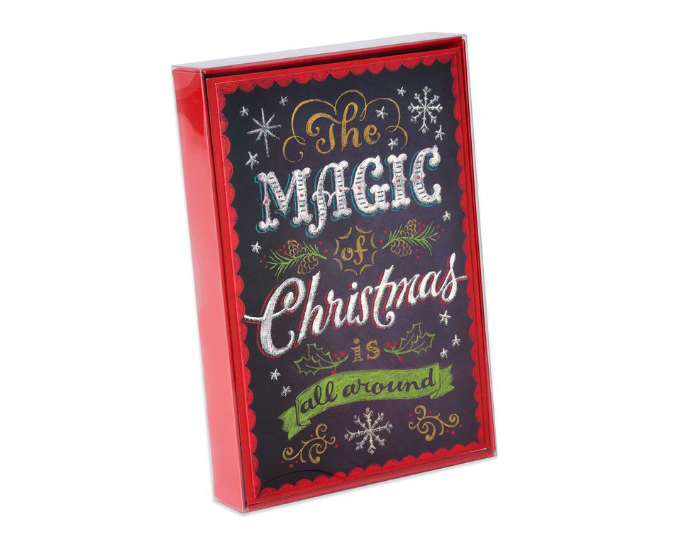 Deluxe Chalkboard Christmas Boxed Cards and Red Envelopes, 14-Count ...