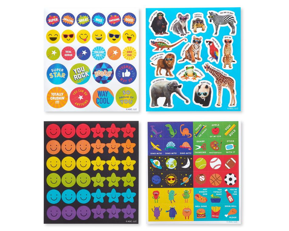Animal, Sports and Smiles Sticker Sheets, 444-Count