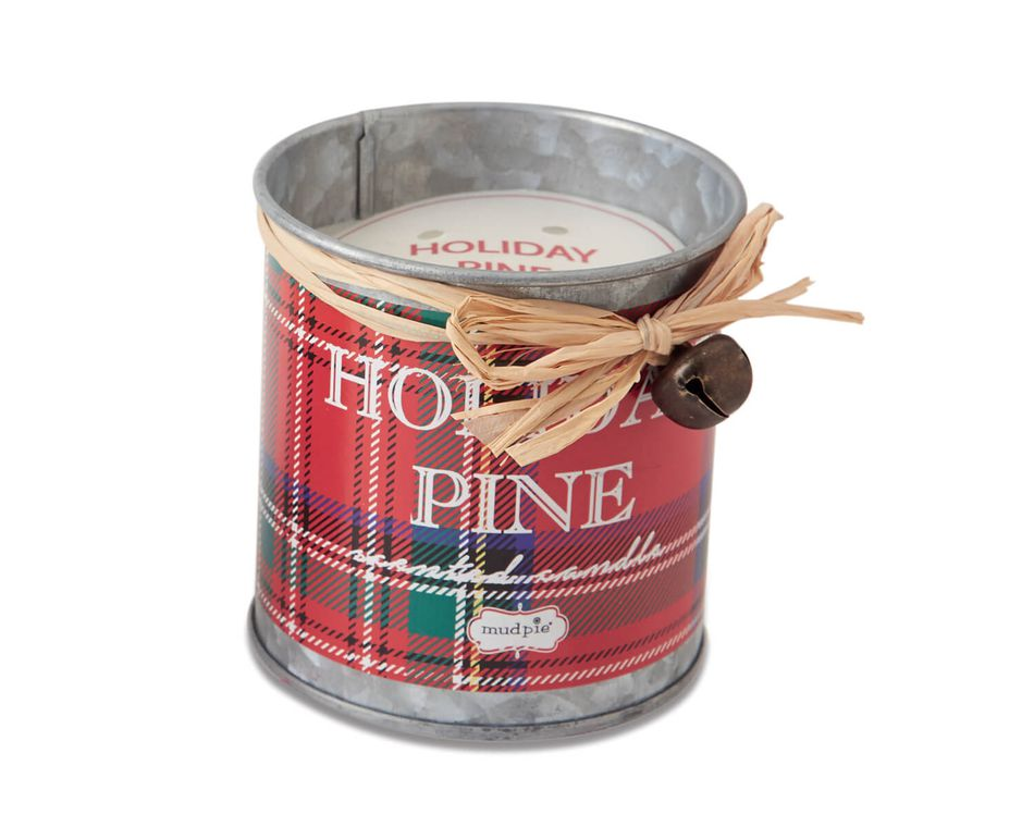 Mud Pie Red Tartan Candle