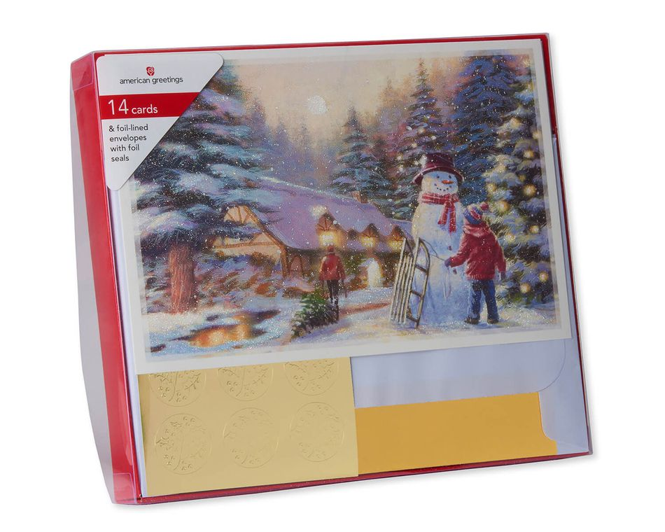 Premium City Kids and Snowman Christmas Boxed Cards and Gold Foil-Lined White Envelopes, 14-Count