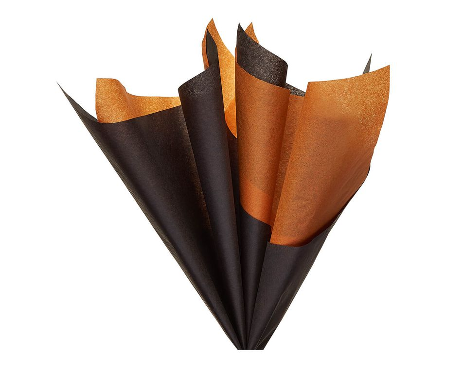 Black and Orange Tissue Paper, 8-Sheets