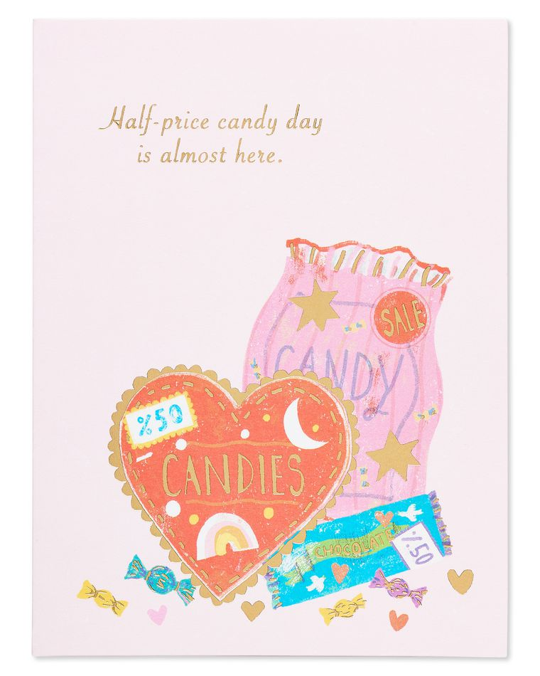 half-price candy valentine's day card