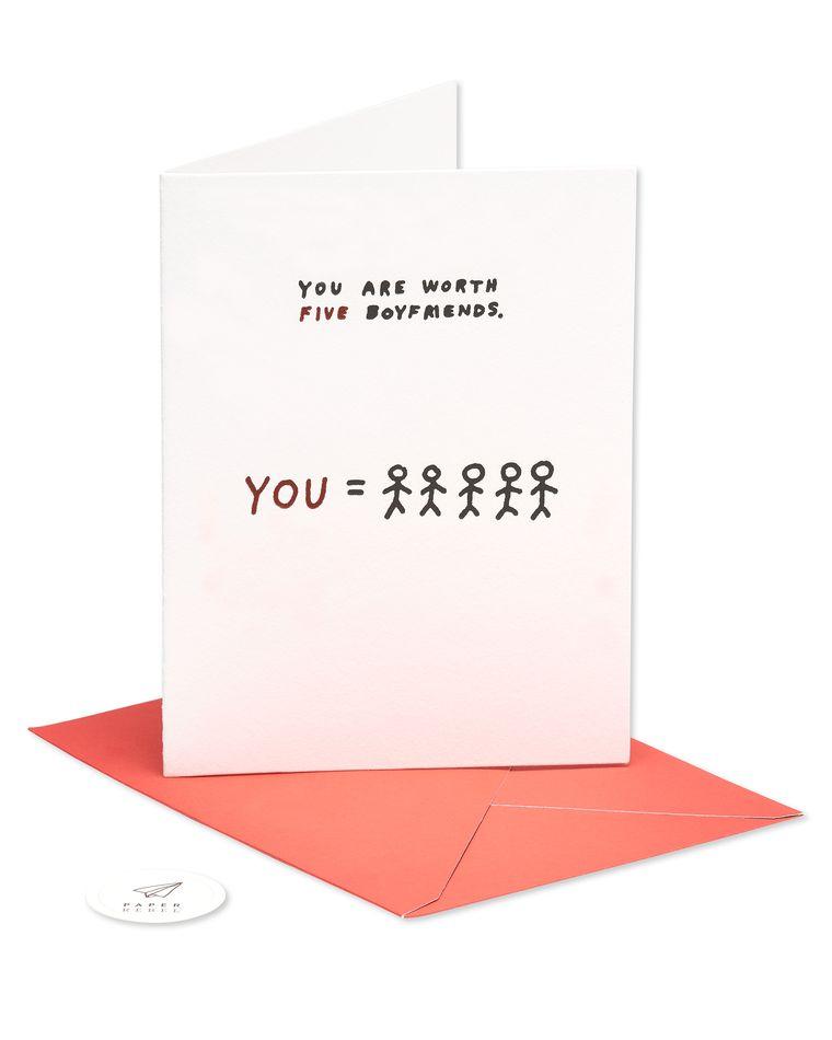 worth five boyfriends valentine's day card