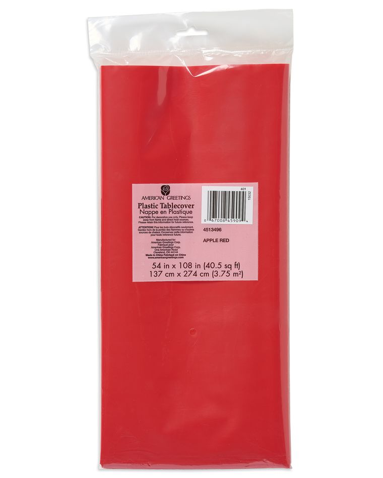 bright red plastic table cover 54 in. x 108 in.