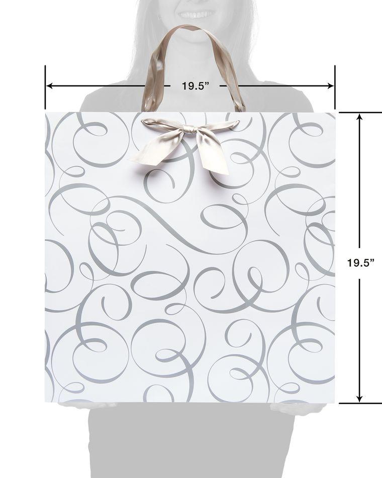jumbo square silver wedding scrolls gift bag