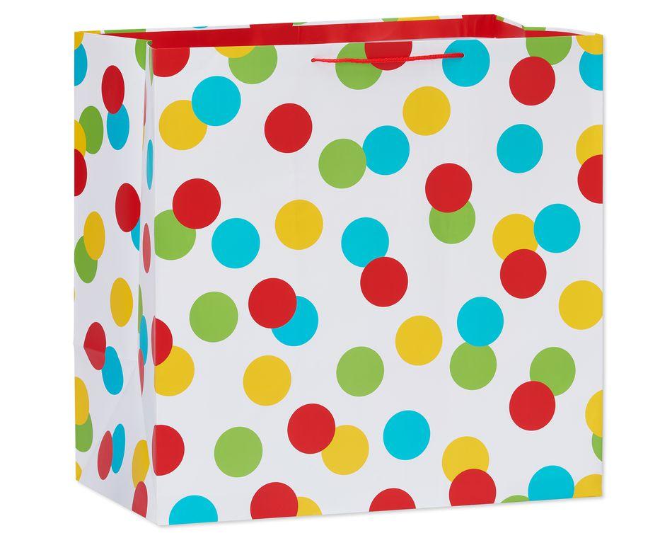 jumbo square multi-dots gift bag