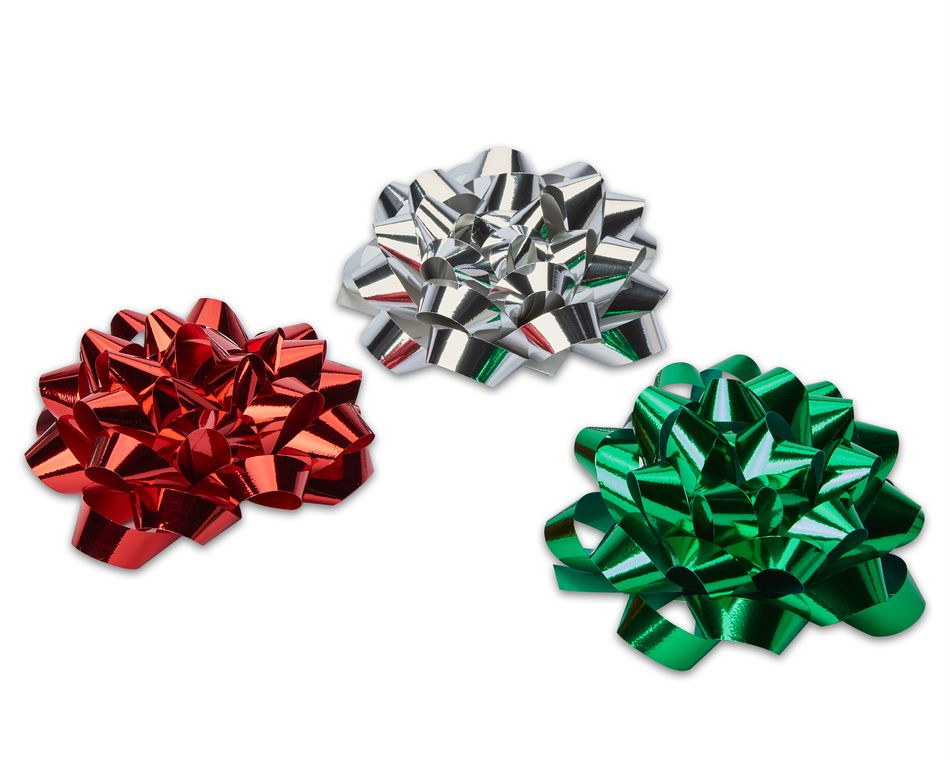 red green and silver ribbon gift  bows