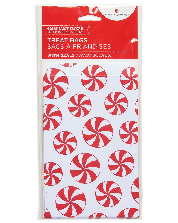 peppermint candy christmas paper treat bags 18 ct
