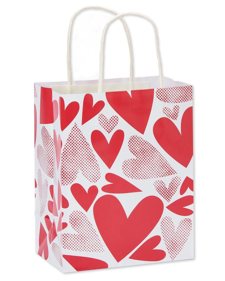 small red hearts valentine's day gift bag