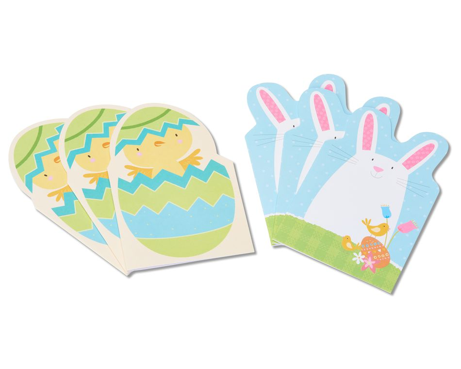chick and bunny easter cards, 6-count