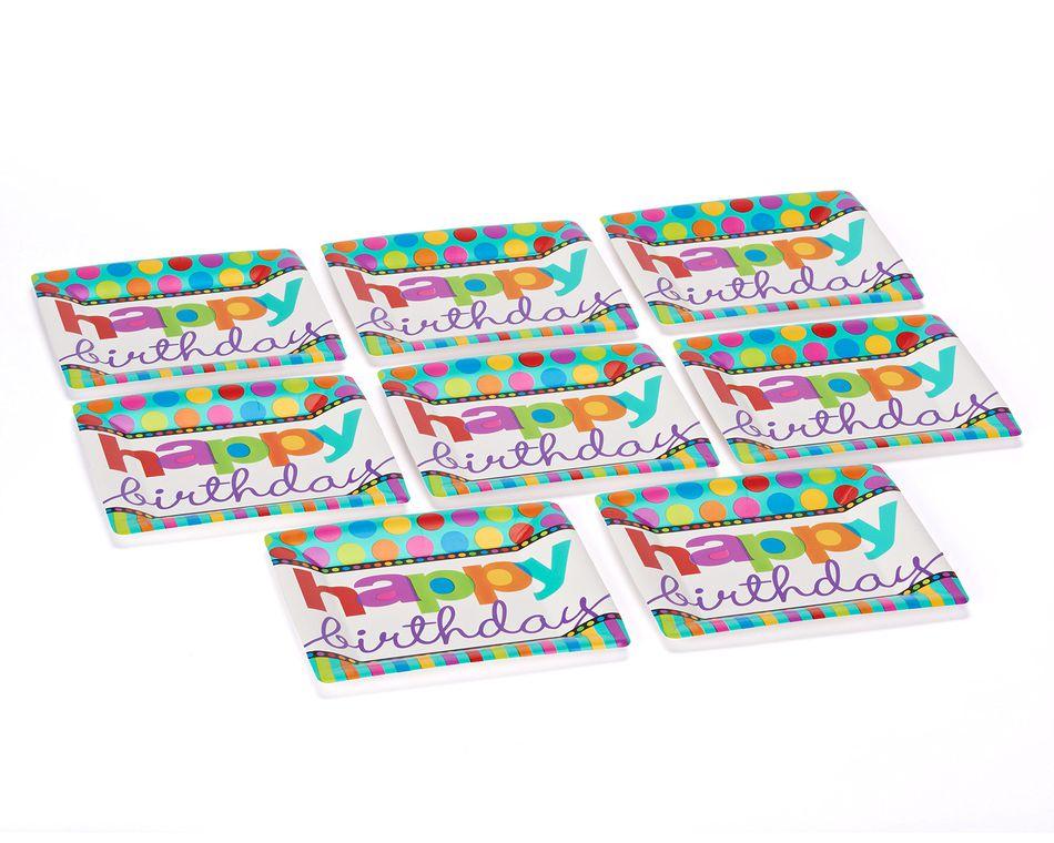 dots & stripes dinner  square plates 8 ct