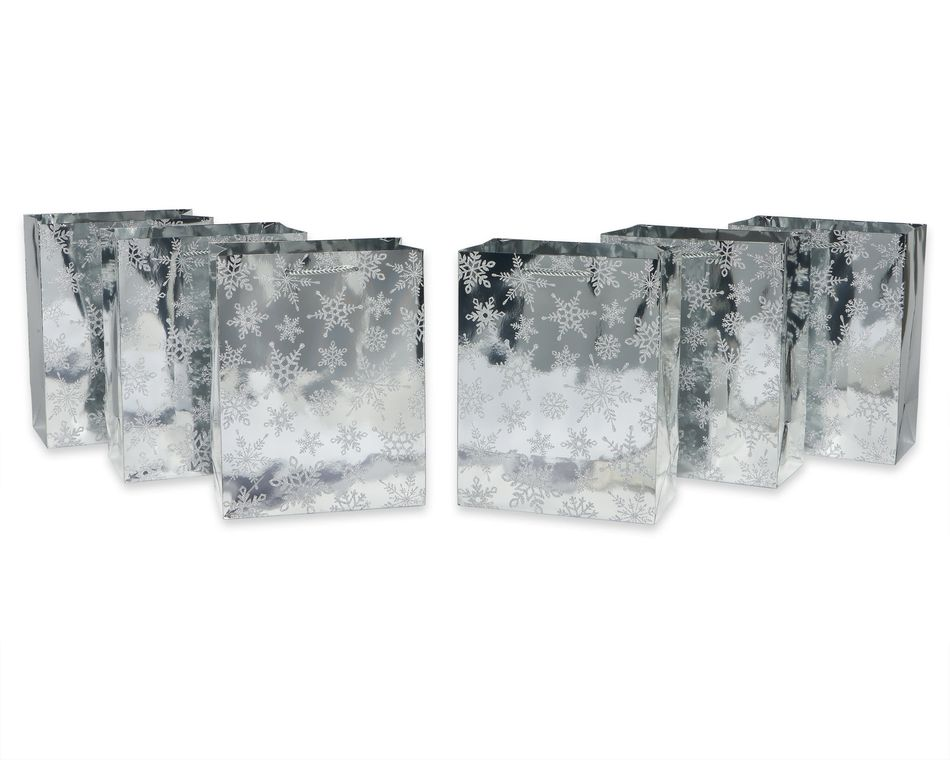 Holiday Luxe Silver Snowflakes Large Gift Bag Set, 6-Count