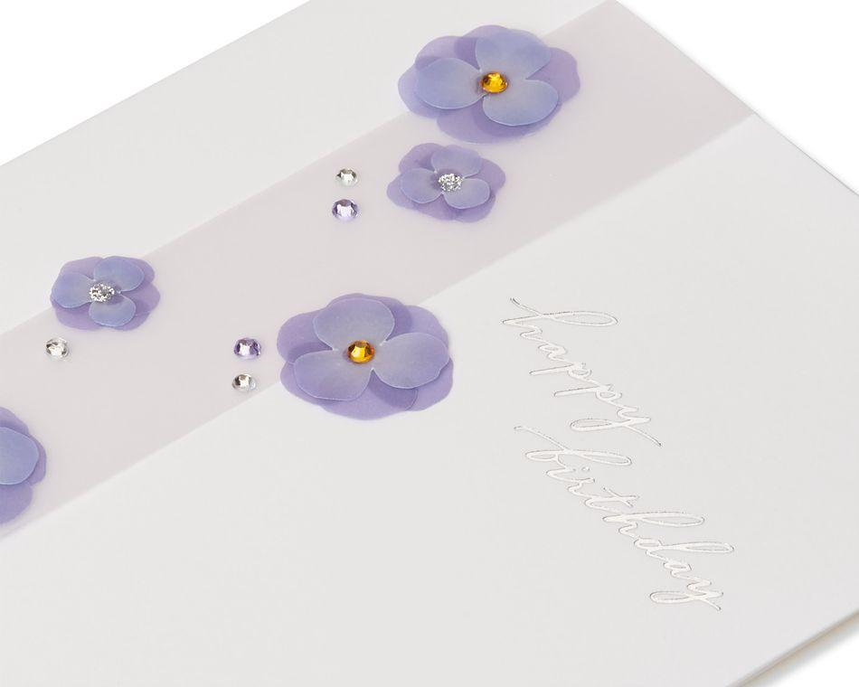 Purple Floral Birthday Greeting Card