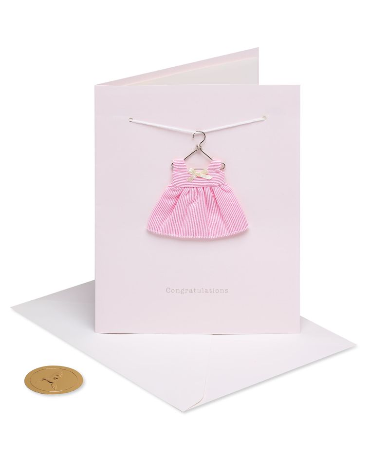 Tiny Tots Pink Dress New Baby Greeting Card